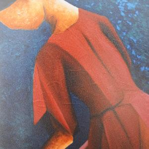 Donna sulle scale | Olio su tela 40 x 60